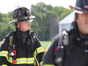 Firefighter looking in the distance