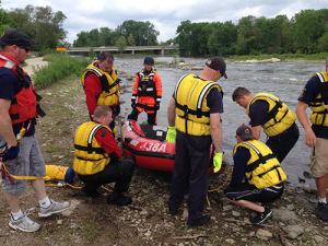 photo of special team water rescue performing training