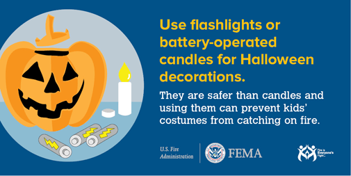 fire tip: use flashlights or battery operated candles for halloween decorations