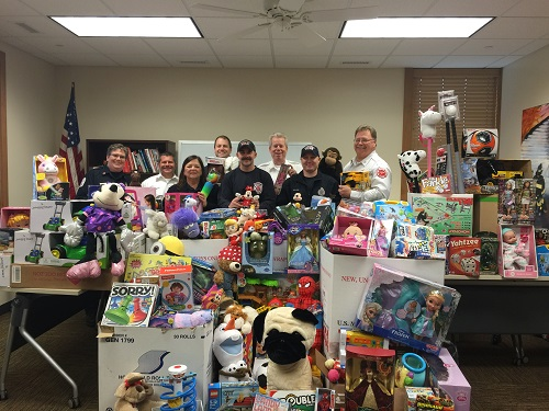 image of toys donated in toys for tots toy drive