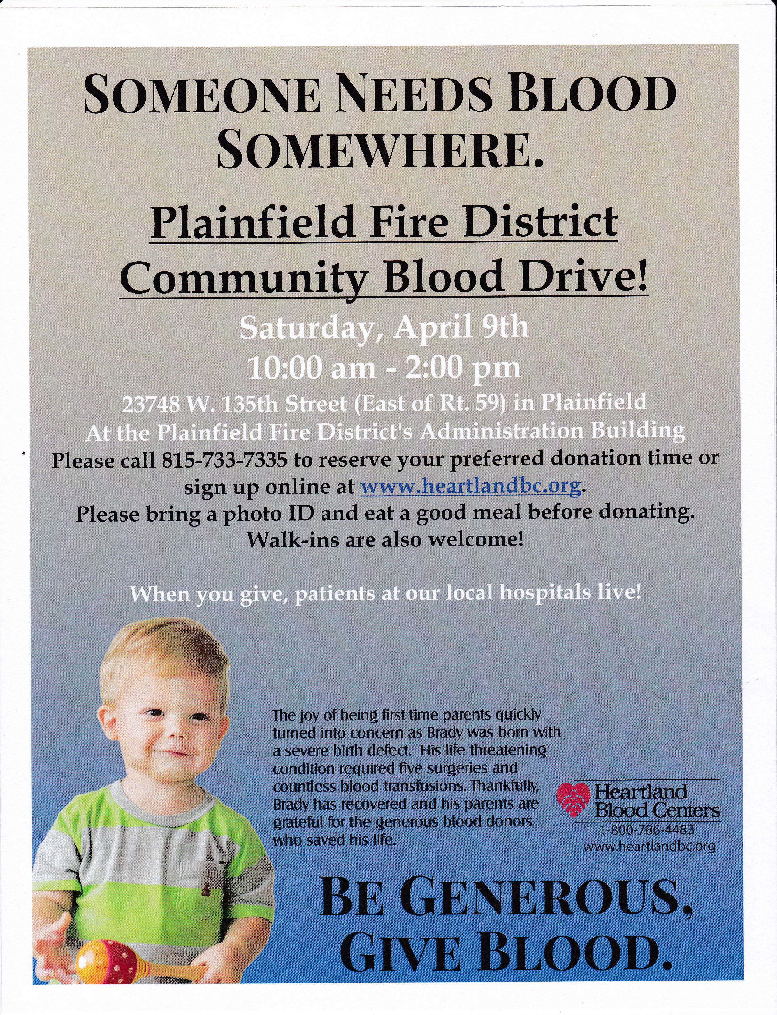 Plainfield Community Blood Drive Saturday April 9, 2016 from 10:00am - 2:00pm